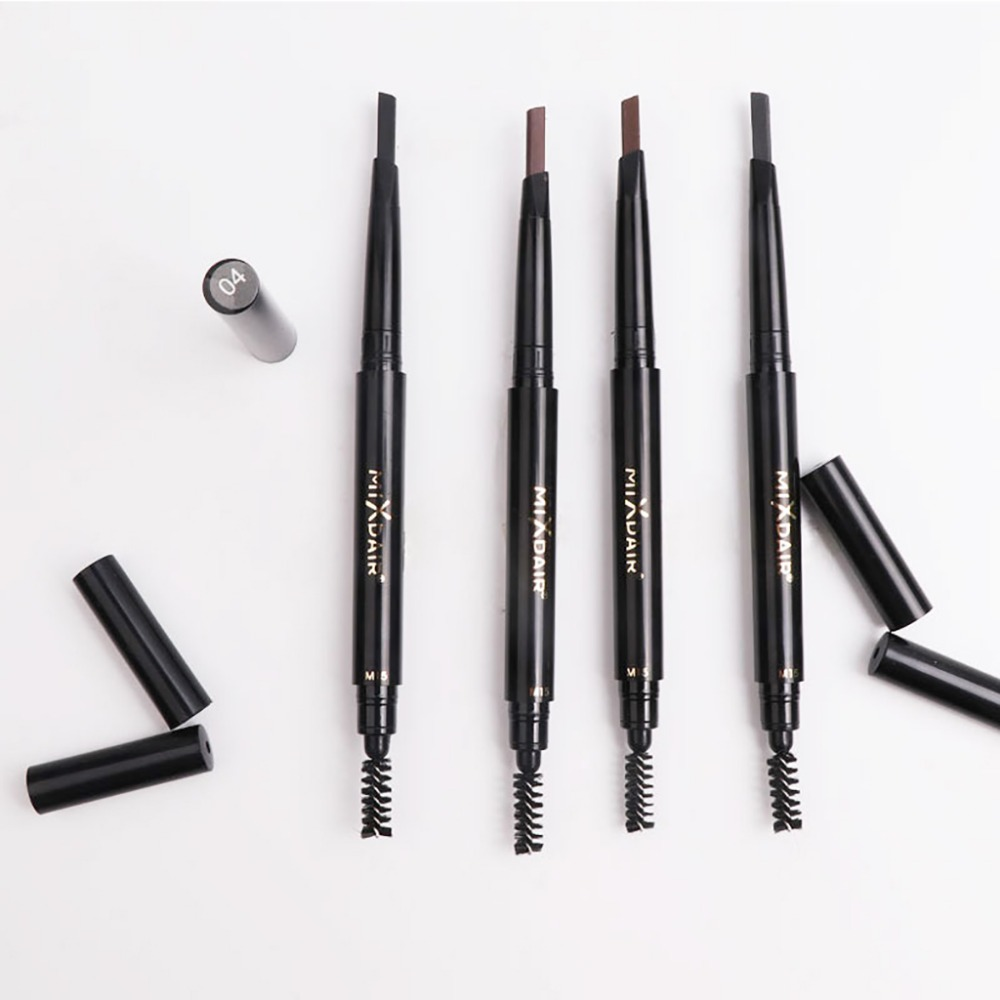 MIXDAIR automatic eyebrow pencil with eyebrow brush waterproof Triangular head dark color black brown eyebrow drawing pen MD008 4