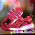 2017 nova crianças roller shoes boy girl automático led iluminado piscando patins crianças sapatilhas da forma com o tamanho da roda 28-40