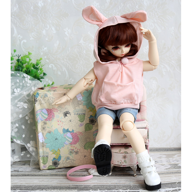 Pink Lovely Rabbit 1/3 1/4 BJD Doll Clothes Jeans Pink Cute Rabbit Clothes Casual Suit 1/3 1/4 SD DD4 BJD Doll Accessories Toy