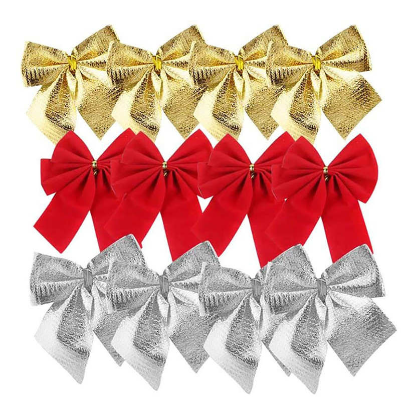 12PCS Pretty Bow Xmas Ornament Christmas Tree Decoration Festival Party Home Bowknots Baubles Baubles New Year Decoration01
