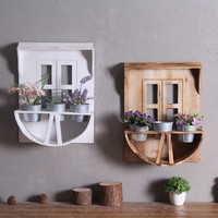 Rustic Vintage Wooden Wall Hanging Flower Stand Creative Iron Crafts Grocery Storage Home Balcony Gardening Shop Wall Decoration