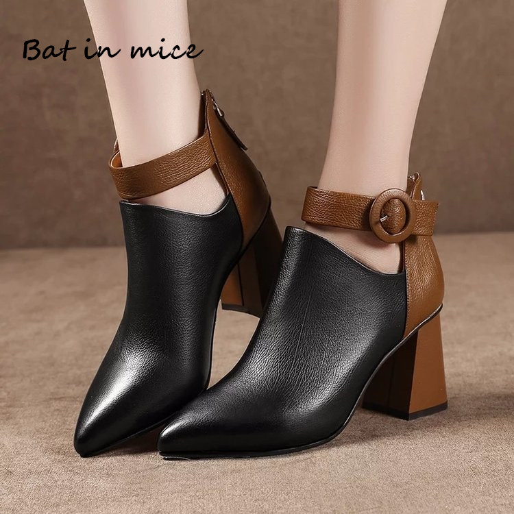 fashion women pumps derss Ankle Martin boots shoes Autumn Winter women Pointed Toe zipper high heels warm Snow Boots mujer W448 liren autumn winter snow boots square high heels shoes casual martin boots women fashion zipper genuine leather ankle boots