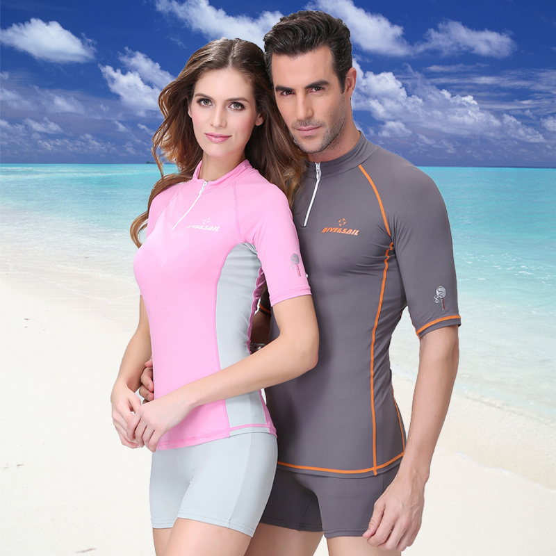 ФОТО 2017  Dive&sail Snorkeling Equipment Wetsuit Sunscreen Clothing Waterproof Female Clothing Short Sleeved Body Of Men and Women