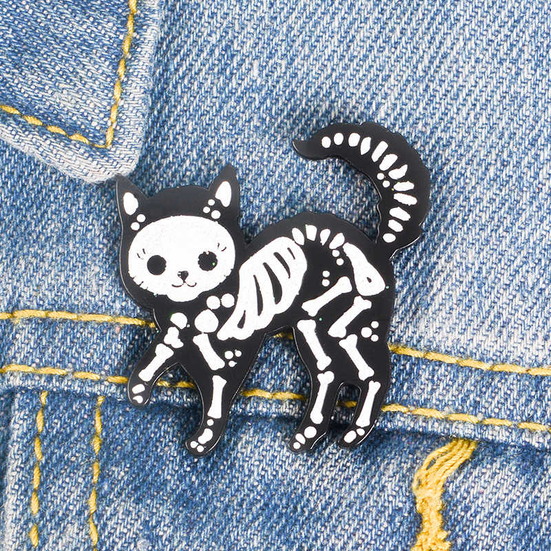 Кошачий Скелет броши и панк булавки белый и черный цвета Новое поступление персональный рюкзак джинсовая юбка подарок на Хэллоуин