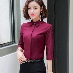 Image 3 - Formal algodão camisa feminina moda ol magro meia manga blusa 2019 verão nova carreira de negócios escritório senhoras trabalho mais tamanho topos