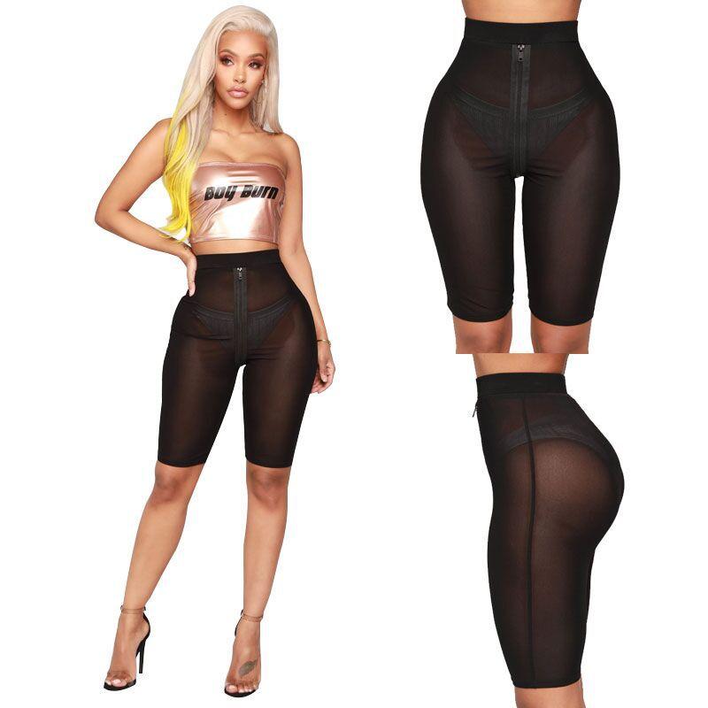 BKLD 2019 New Fashion Women Mesh Sheer Pants Sexy Summer Beach Party Clubwear Cover Up Pant Front Zipper Knee Length Pants Women