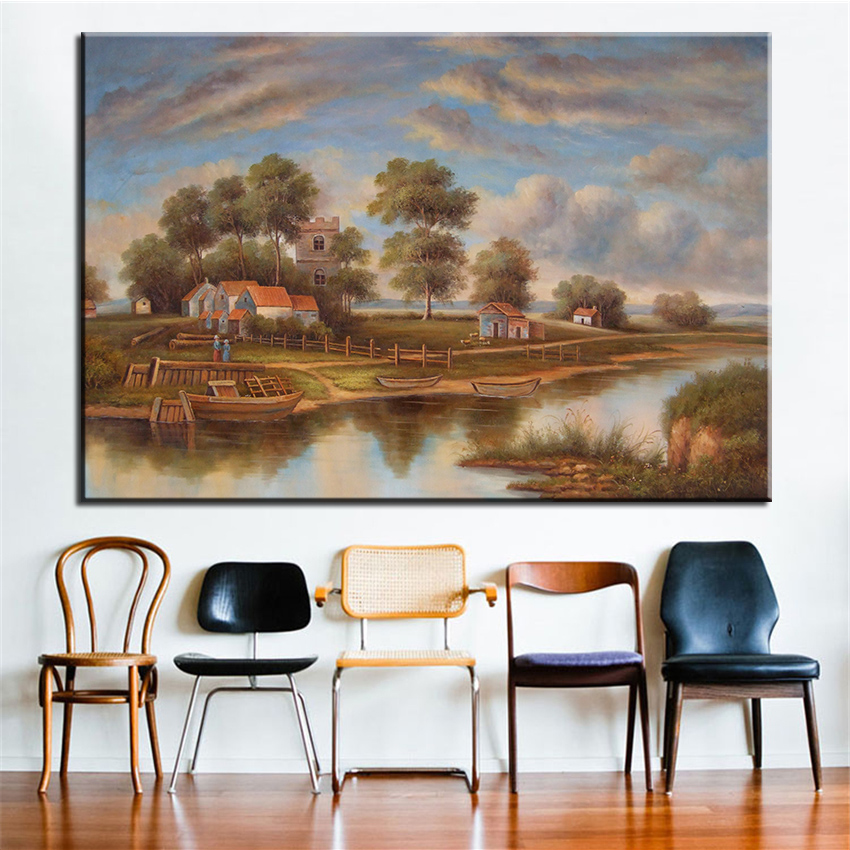 NO FRAME Printed custom any style landscape Oil Painting Canvas Prints Wall Painting For Living Room Decorations no frame canvas