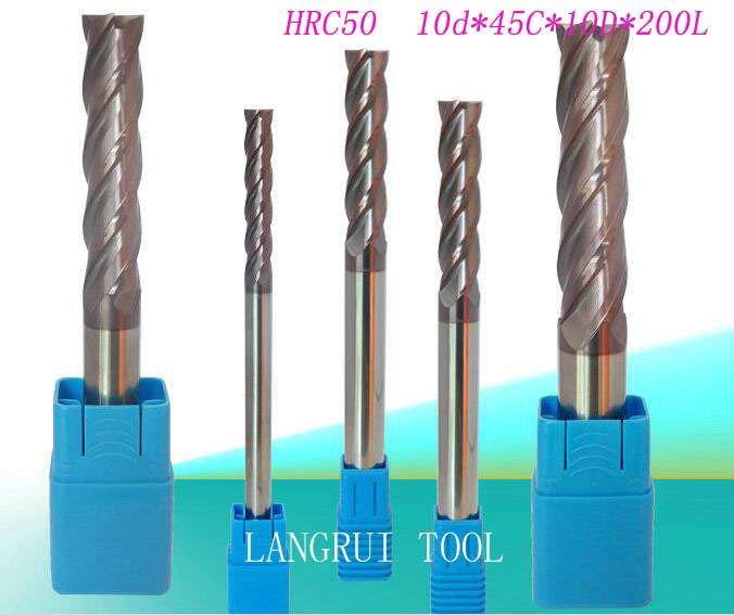 ФОТО 2PCS tungsten carbide end mill HRC50 10d*45C*10D*200L 4 flutes CNC machine milling cutter  drill bit