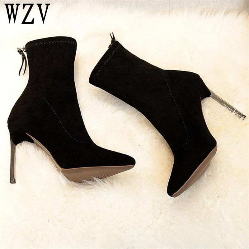 2018 Autumn Winter fashion Metal heel Women Boots Pointed toe stiletto thigh-heel boots Suede Leather ankle boots E415