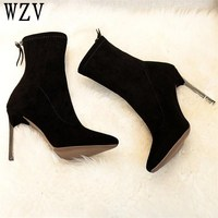 2018 Autumn Winter fashion Metal heel Women Boots Pointed toe stiletto thigh heel boots Suede Leather ankle boots E415