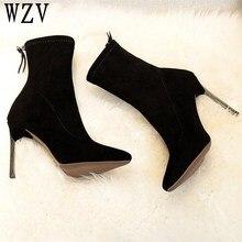 2018 Autumn Winter fashion Metal heel Women Boots Pointed to