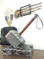 [Metal Made] Collection 1:1 Cosplay The Avengers Thor hammer mjolnir toy adult costume party metal hammer base stand model