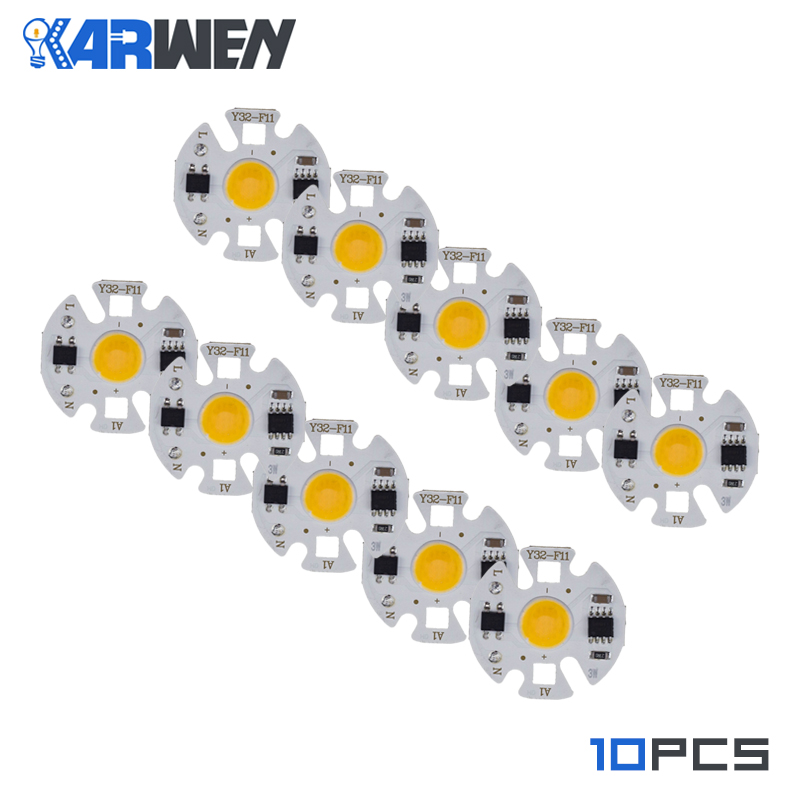 KARWEN 10PCS LED COB Lamp Chip Bulb Y32 3W 5W 7W 9W Real Power Input IP65 For Outdoor LED   Bulb FloodLight Cold Warm White 220V
