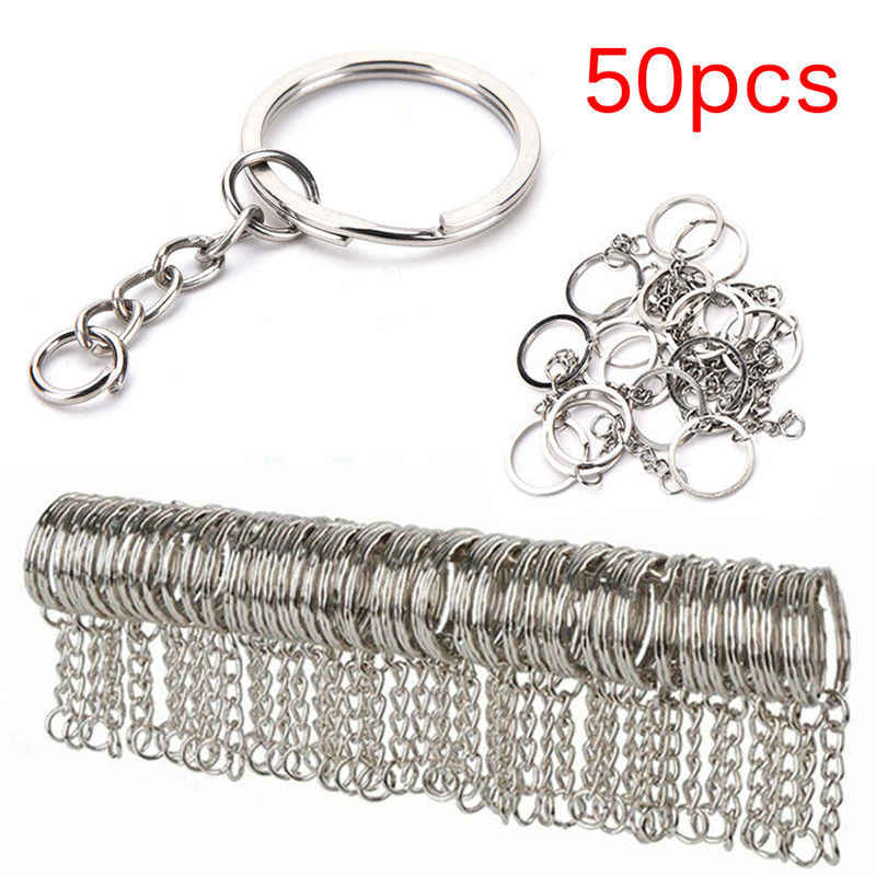 50PC Metal keychain Rhodium Plated Alloy Key Chains Simple Key Ring  25mm