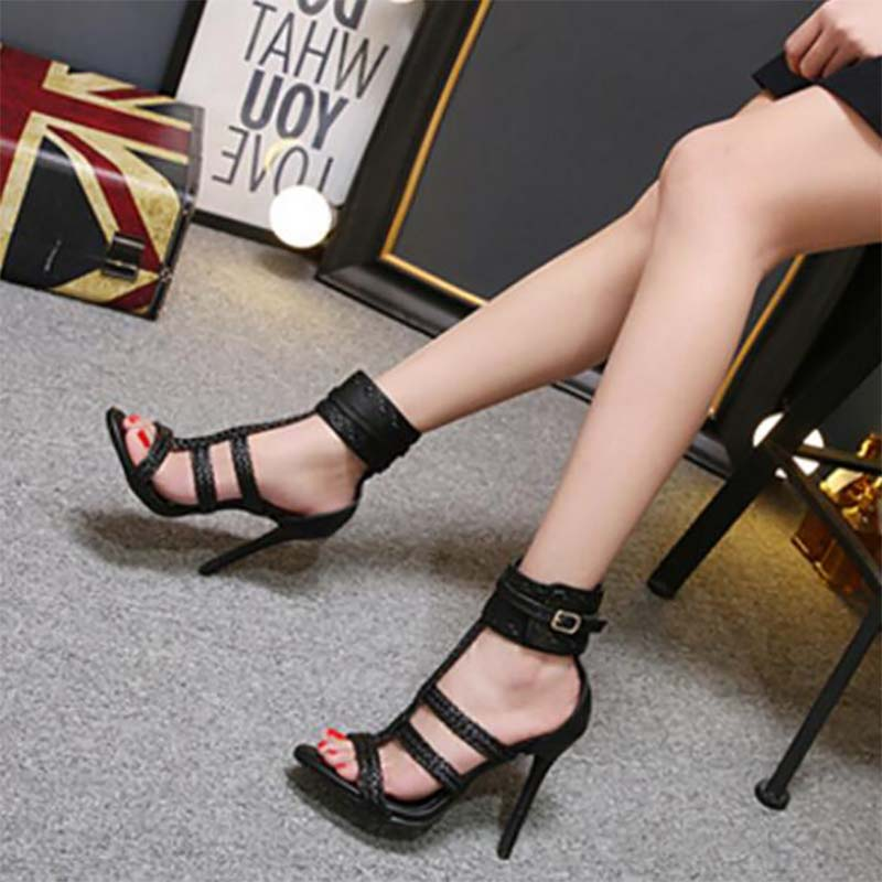 TINGHON Fashion Summer Sexy PU Women Sandals Thin High Heels 11 CM Gladiator  Bandage Cross Tied Party Shoes-in High Heels from Shoes on Aliexpress.com  ... bc836ed36a82