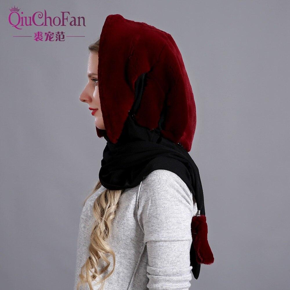 Naturel réel lapin fourrure chapeau écharpe élégant chaud hiver chapeaux pour femmes classique russe Style qualité fourrure femme bonnets - 3