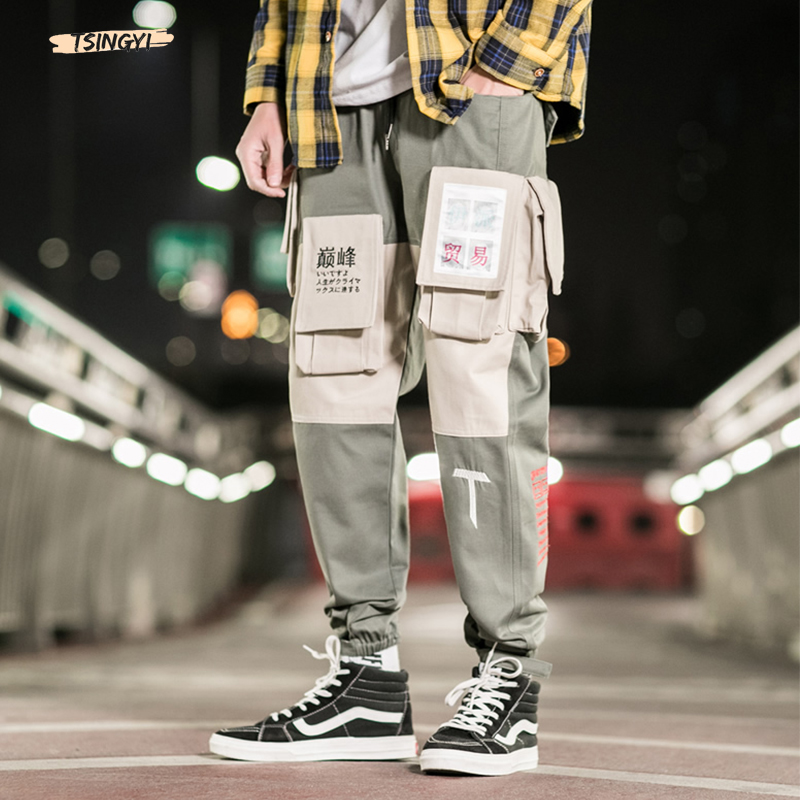 Tsingyi Pockets Cargo Pants Men Letter Embroidery Hip Hop Harem Joggers Color Patchwork Track Trousers Man Skateboard Streetwear
