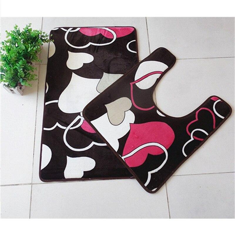 2 Pcs/set Heart Design Printed Bathroom Carpet U Shape Bathroom Rug Set  Anti