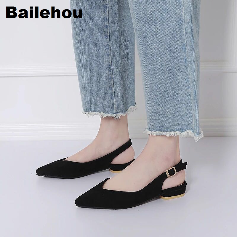 Bailehou Women Flat Shoes Buckled Slip On Spring Summer Shoes Low Heel Women Sandal Pointed Toe Shallow Ballet Slingback Flats цены онлайн