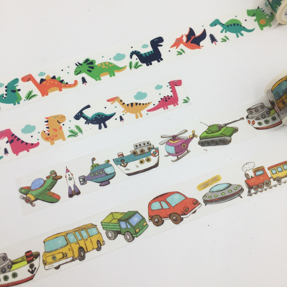 Beautiful 23mm*5m High Quality  Washi Paper  Tape/Varied Vehicles And Color Dinosaurs World  Masking  Washi Tape