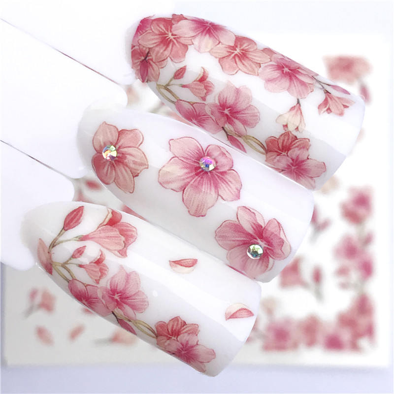 YWK 1 Sheet Pink Flower Water Transfer Slider for Manicure Nail Art Decoration