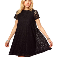 Summer Short Sleeve Plus Size Lace Dress 2017 New Womens Slim Dresses Fashion Round Collar Korean