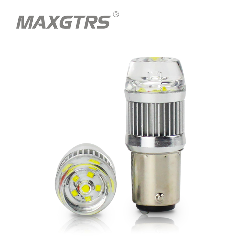 2x Super Bright Low Power 1157 2057 2357 7528 BAY15D Car LED Bulbs with Lens Replacement for Back Up Reverse Tail Brake Lights
