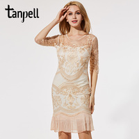 Tanpell Embroidery Cocktail Dress Hollow Half Sleeves Knee Length Pleated Gown Cheap Mesh Light Apricot Short