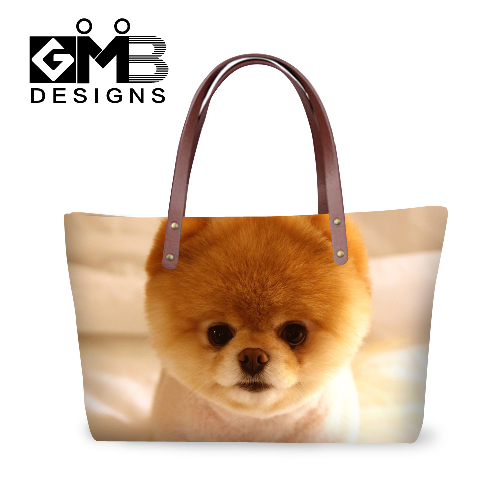 Dispalang cute pomeranian dogs printing ladies luxury handbags famous brand designer pets dog women shopping totes bags hand bag