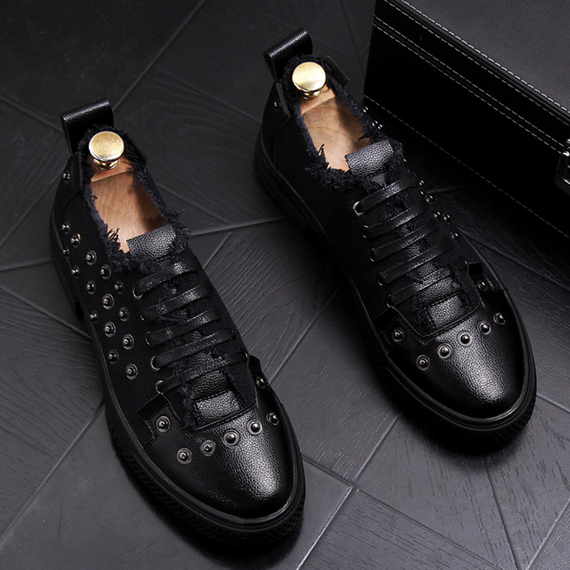 British fashion mens party nightclub dress soft leather rivets shoes young teenage flats platform lace-up shoe sneakers zapatos 2