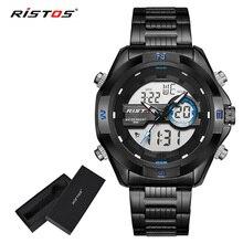 RISTOS мужские спортивные часы с хронографом, цифровые мужские модные часы Relojes Masculino Hombre, многофункциональные аналоговые наручные часы 9369