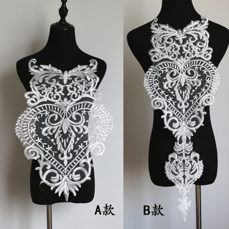 1Piece Fine Lace Applique Large Heart Shape Wedding Dress Lace Trimmings For Sewing Garment Accessories