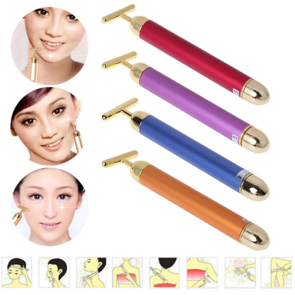 Slimming Face roller   24k Gold Colour Vibration Facial Beauty Roller Massager Stick Lift Skin Tightening Wrinkle Bar   1