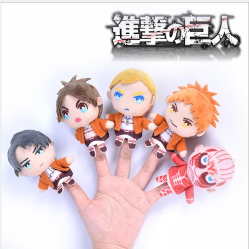 5pcs lot high quality 10cm Japanese classic anime figrue Attack on titan plush finger toys action