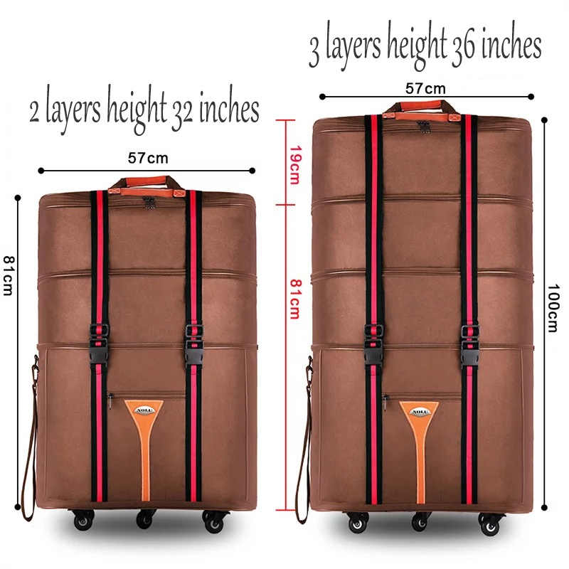 e14ec6dde03f 32 36 inch Large capacity Oxford cloth rolling luggage bag abroad to study  and move to move folding trolley suitcase travel bag