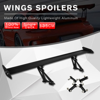 53.15'' Lightweight Rear Trunk Wing GT Racing Spoiler Set Black Adjustable Universal Car Sedan