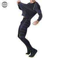 Yuerlian New Dry Fit Compression Tracksuit Fitness Tight Running Set T shirt Legging Men's Sportswear Demix Black Gym Sport Suit