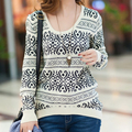 Autumn Winter Sweater Women Blue White Porcelain Casual Pullover Outerwear Loose O Neck Plus Size Sweater  women