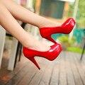 2016 Новое Прибытие Мода Женщины Насосы Высокого Платформа Свадебные Туфли Кратким Лакированной Кожи Мелкие Высокие Каблуки 11 см Обувь Размер 34-39
