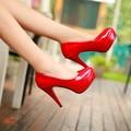 2016 Nueva Llegada de La Manera Mujeres Bombas de Alta Plataforma de la Boda Zapatos de Charol Concisa Superficial zapatos de Tacón Alto 11 cm Tamaño de Los Zapatos 34-39