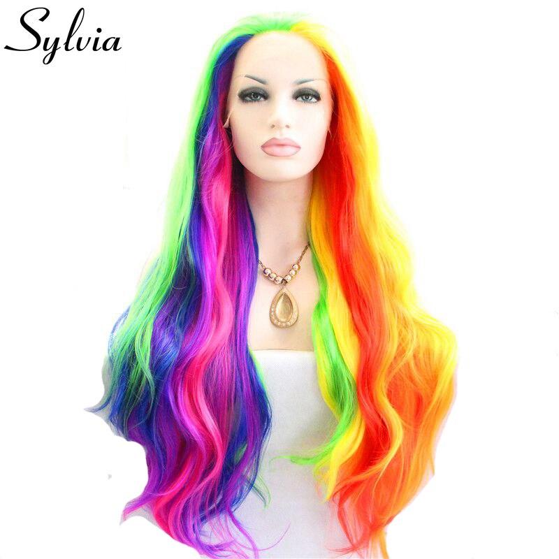 Sylvia mixte coloré vague de corps synthétique dentelle avant perruques vert/bleu/rose/violet/rouge/jaune/orange piano couleur résistant à la chaleur
