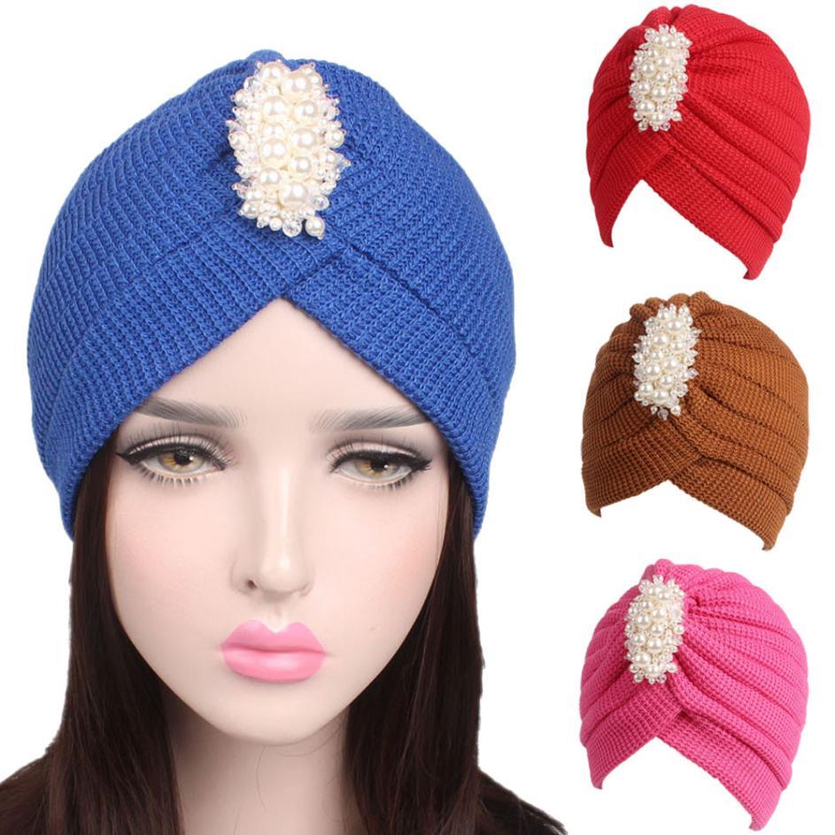 75e688478750e Women Ladies Knitting Cancer Hat Beanie Turban Head Wrap Cap Pile Cap 8  colors hot sale new winter Faux Fur Knitted Hats 2018