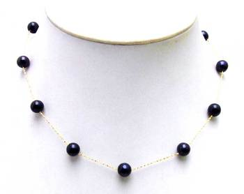 Black And Gold Choker | Geniue Gold Chain Floating AAA Perfect Round 6-7mm Black Natural Freshwater Pearl 16