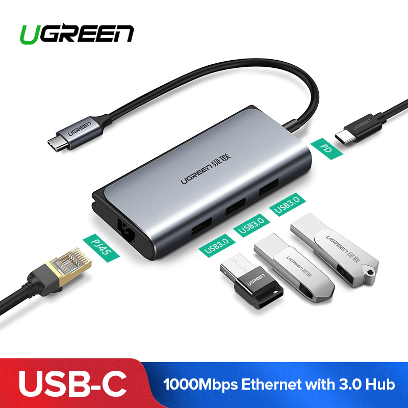 все цены на Ugreen USB C HUB RJ45 Adapter USB-C to 3.0 HUB RJ45 PD Dock for MacBook Pro Samsung Galaxy S9/S8/Note 9 Huawei P20 Type C HUB онлайн
