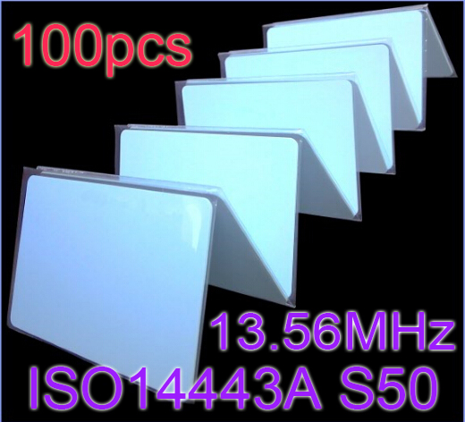 цена на Free Shipping 100pcs/Lot IC Card 13.56MHz RFID ISO14443A S50 Smart card