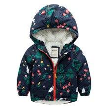 Девушки хлопка-ватник плюс бархат флис с капюшоном на молнии куртки мягкая зима верхняя одежда кролик цветок дерево шаблон