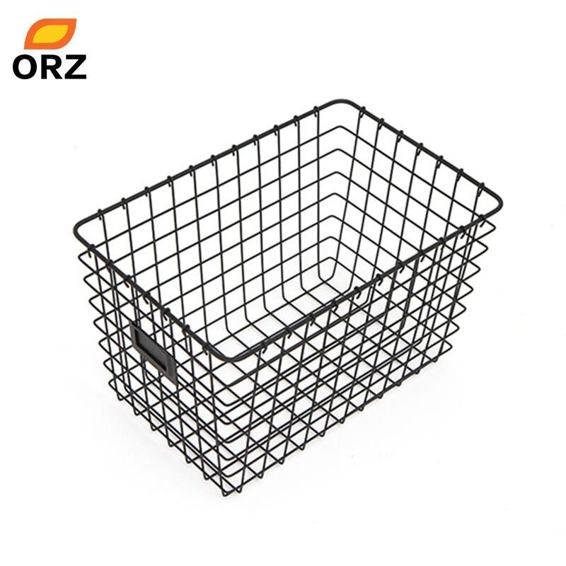 orz 2pcs desktop storage baskets iron art metal box kitchen vegetable fruit bathroom towel home storage