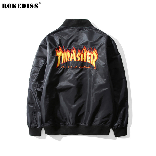 2016 winter new hip hop street skateboard brand sup THRASHER jacket Solid color embroidery letters Bomber Flight jacket coats