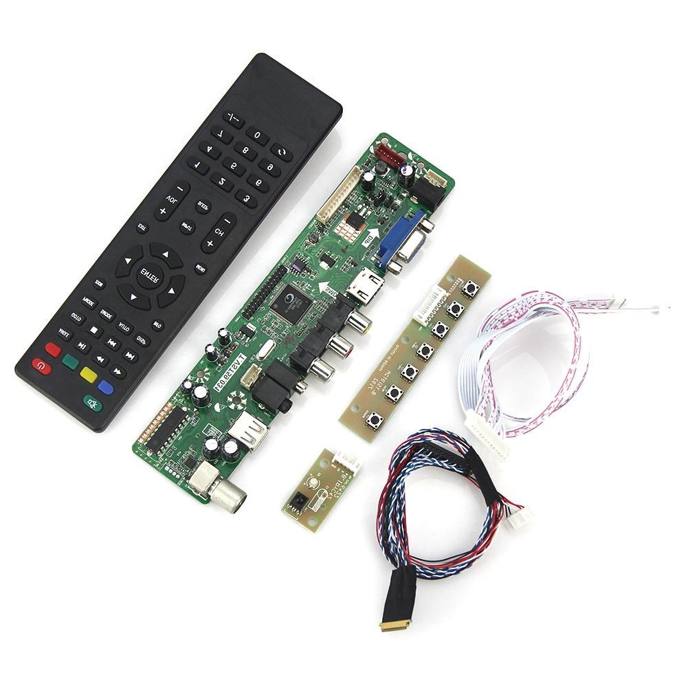 Placa de Driver de Controlador tv + Hdmi + Vga + Cvbs + Usb para Lp173wf1 tl b3 B173hw02 V.0 Lvds Laptop 1920×1080 Russa t. Vst59.03 Lcd – Led