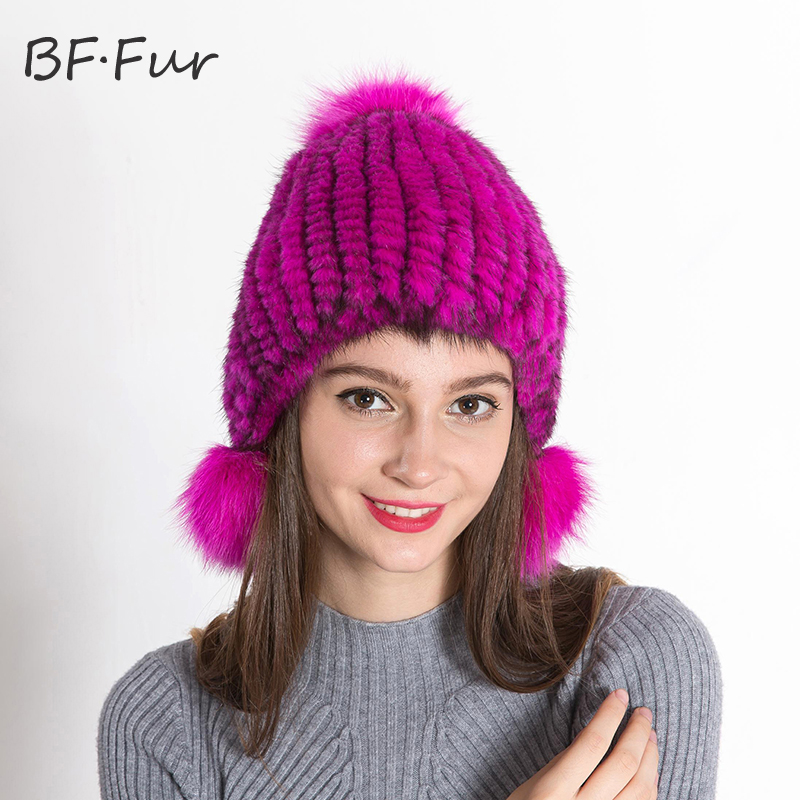 BF.FUR 17 Colors Beautiful Hat Mink Fur Handworks Knitted Fur Hats Winter Womens Onesize Free Real Mink Fur Hat Cap BF-M0005